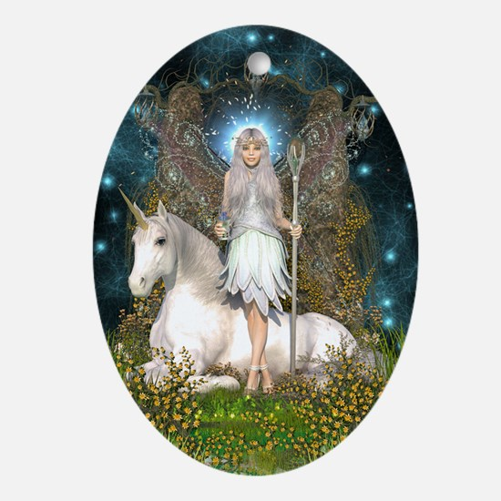 Crystal Fairy and Unicorn Oval Ornament