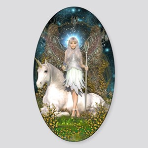 Crystal Fairy and Unicorn Sticker (Oval)