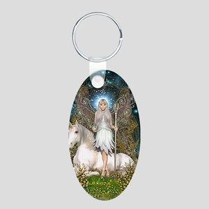 Crystal Fairy and Unicorn Aluminum Oval Keychain