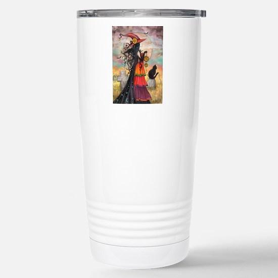 Witch Way Halloween Witch Art Travel Mug