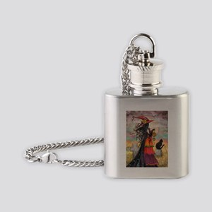 Witch Way Halloween Witch Art Flask Necklace