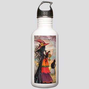 Witch Way Halloween Witch Art Water Bottle