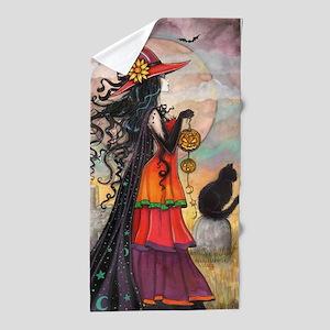 Witch Way Halloween Witch Art Beach Towel