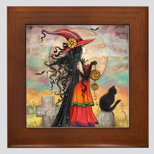 Witch Way Halloween Witch Art Framed Tile