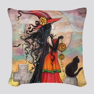 Witch Way Halloween Witch Art Woven Throw Pillow