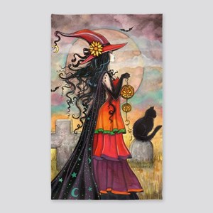 Witch Way Halloween Witch Art 3'x5' Area Rug