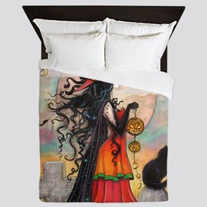 Witch Way Halloween Witch Art Queen Duvet