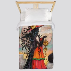 Witch Way Halloween Witch Art Twin Duvet