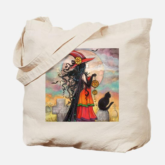 Witch Way Halloween Witch Art Tote Bag