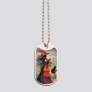 Witch Way Halloween Witch Art Dog Tags