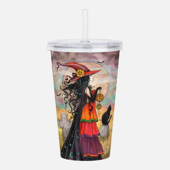Witch Way Halloween Witch Art Acrylic Double-wall