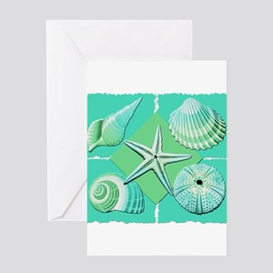 Collage of Beach Seashells Shades of Blue Green Gr