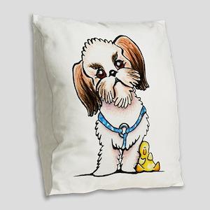 Shih Tzu Ducky Burlap Throw Pillow