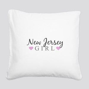 New Jersey Girl Square Canvas Pillow