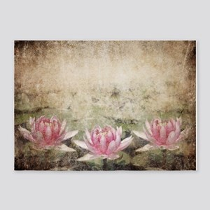 Pink Lotus Grunge 5'x7'area Rug