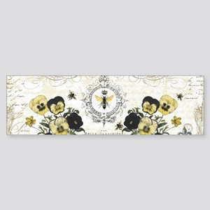modern vintage French pansies and bee Bumper Stick