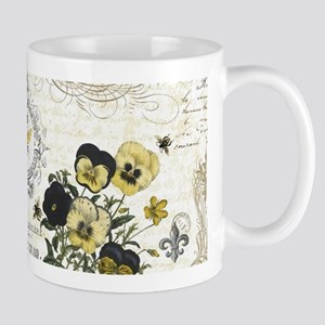 modern vintage French pansies and bee Mugs