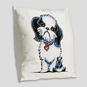 Shih Tzu Panda Burlap Throw Pillow