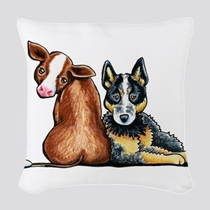 ACD and Cow Woven Throw Pillow