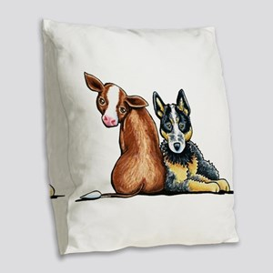 ACD and Cow Burlap Throw Pillow