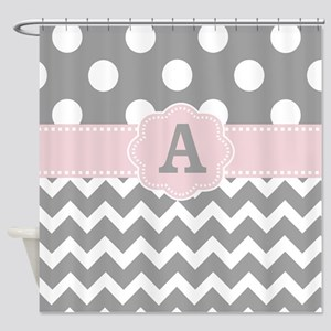 Gray Pink Dots Chevron Monogram Shower Curtain