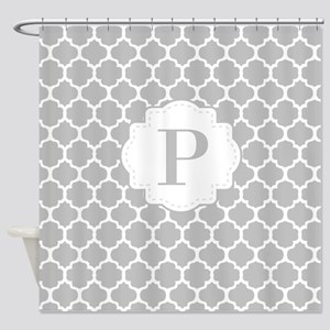 Gray White Quatrefoil Monogram Shower Curtain