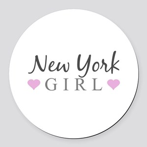 New York Girl Round Car Magnet