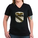 USS McCLOY Women's V-Neck Dark T-Shirt