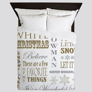 modern vintage Christmas words Queen Duvet