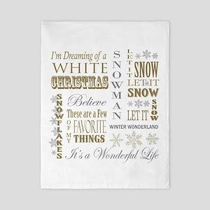 modern vintage Christmas words Twin Duvet