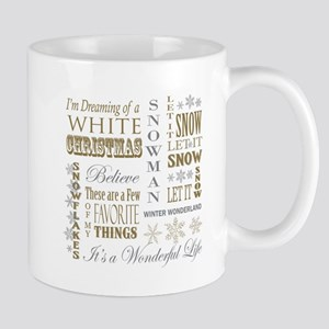 modern vintage Christmas words Mugs
