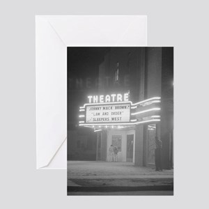 Movie Theater at Night, 1941 Greeting Cards