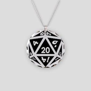 D20 black center Necklace Circle Charm