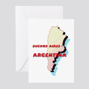 Argentina Map Greeting Cards (Pk of 10)