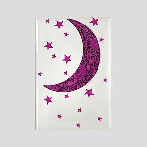 Pink Moon stars Flowers hot black Rectangle Magnet