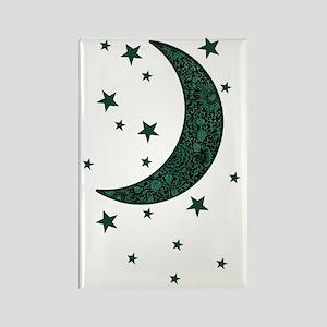 green moon stars flowers Rectangle Magnet
