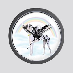 Harlequin Great Dane Angel RB Wall Clock