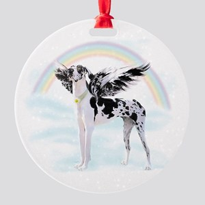 Harlequin Great Dane Angel RB Round Ornament