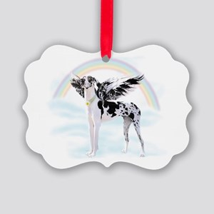 Harlequin Great Dane Angel RB Picture Ornament