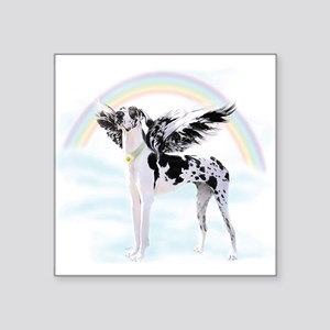 "Harlequin Great Dane Angel Square Sticker 3"" x 3"""