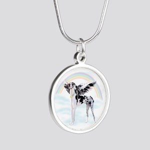 Harlequin Great Dane Angel R Silver Round Necklace