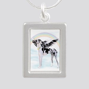Harlequin Great Dane Ang Silver Portrait Necklace