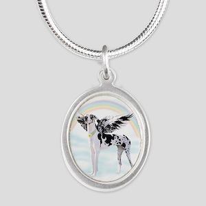 Harlequin Great Dane Angel RB Silver Oval Necklace