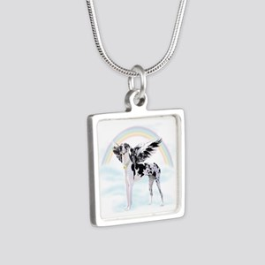 Harlequin Great Dane Angel Silver Square Necklace