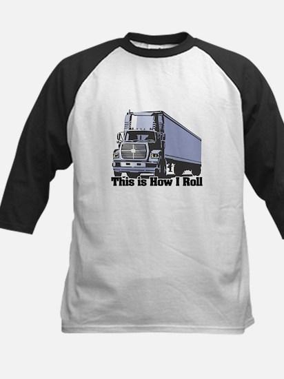 How I Roll (Tractor Trailer) Kids Baseball Jersey