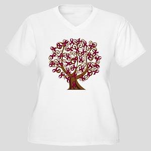 Burgundy Awareness Ribbon Tree Plus Size T-Shirt