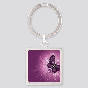 Butterfly Square Keychain