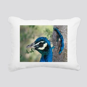 Peacock Head Crown Feath Rectangular Canvas Pillow