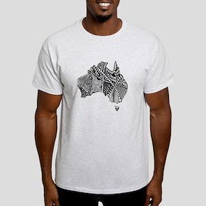 Australia Map Tangled Doodle Light T-Shirt