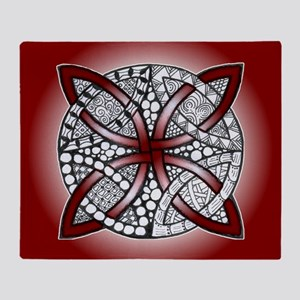 Red Celtic Knot Doodle Throw Blanket